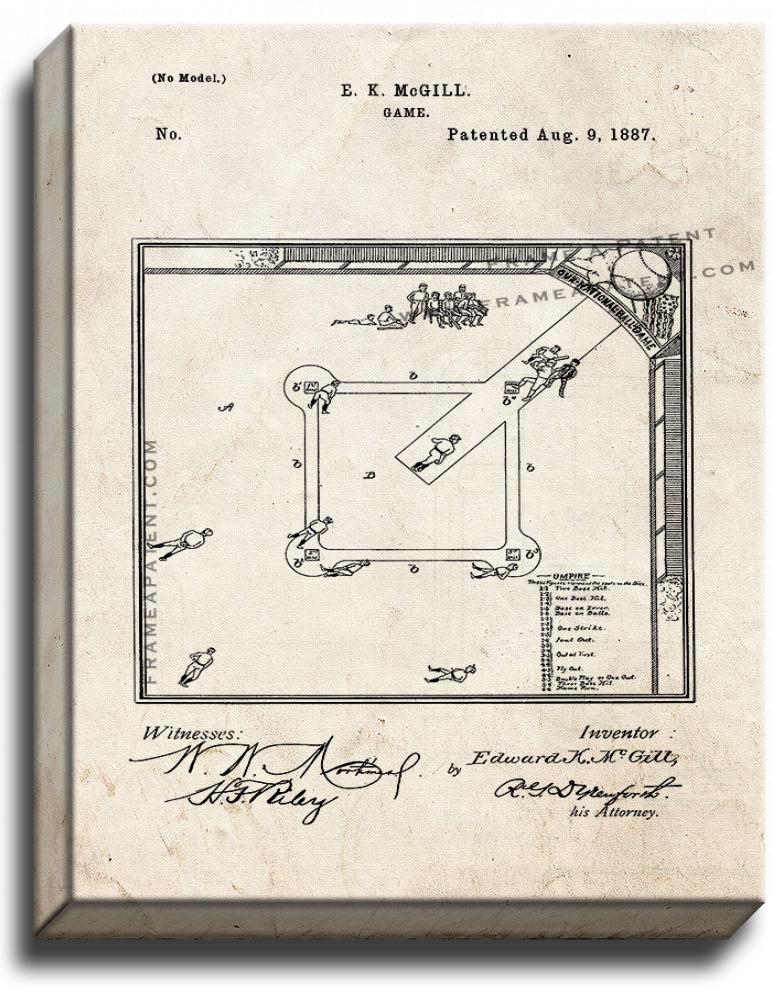 Primary image for Baseball Game Patent Print Old Look on Canvas