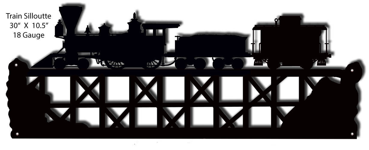 Primary image for Train Silhouette Laser Cut Out Of Metal 10.5x30