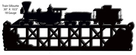 Train Silhouette Laser Cut Out Of Metal 10.5x30 - $40.59