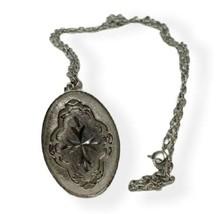 "Vintage Necklace Silver tone Pendant Openwork Filigree Engraving 24"" lin... - $14.84"