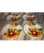"Royal Norfolk 10 1/2"" Dinner Plates Set Of 4 Red/Yellow/Green Flower Pri... - $29.28"