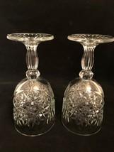 """2 Crystal Stemmed Libbey Hobster Water Goblets w Ornate Stars 7.25"""" - $31.68"""