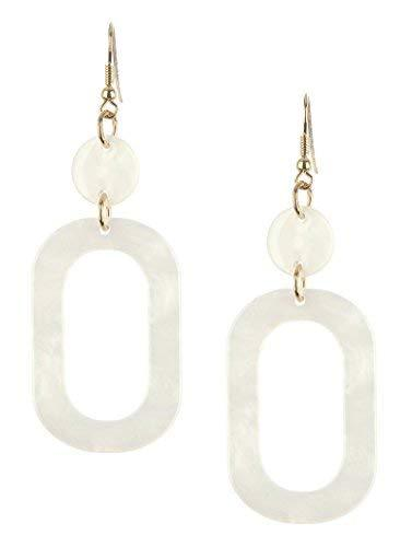 Retro Vintage Style Marble Lucite Stone Dangle Earrings (White)