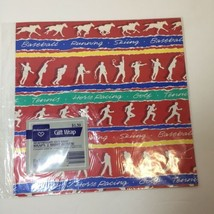 Sports Vintage Hallmark Ambassador Wrapping Paper 2 Sheets Red White Horse - $9.74