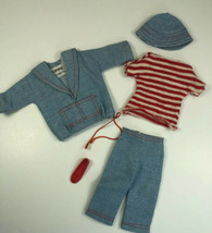 Vintage Barbie Skipper 1963 Land & Sea Outfit #1917 Red Striped Shirt Jeans Hat - $39.59