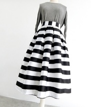 Women White Black Strip Pleated Midi Skirt A-line High Waist Pleated Plaid Skirt image 2