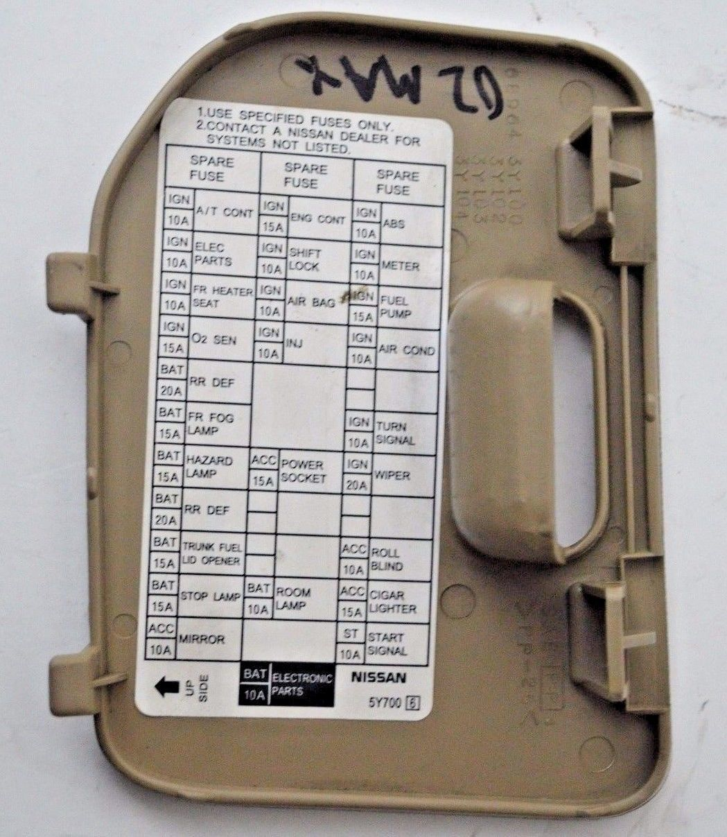 ... 00 01 02 03 Nissan Maxima Tan Fuse Block Cover Lid Door Panel OEM 2000-  ...