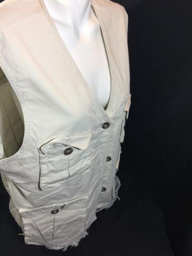 Eddie Bauer Men White Button Down Vest Sleeveless Size L Bin79#24