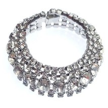Magnificent Vintage Kramer Bridal Clear Rhinestones Chatons Sparkly Brac... - $49.99