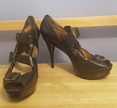 Michael Kors Strappy Stiletto Platform Sandals Leather 3 Buckle Straps S... - $39.59