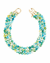 Kenneth Jay Lane Blue Green Three Strand Multihued Beaded Necklace MRSP ... - $98.01