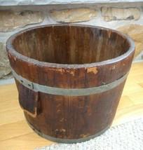 antique 16 QUART WOODEN GRAIN BUCKET w/METAL STRAPS side handles STURDY - $224.95