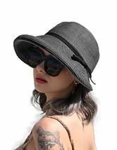 Melesh Fancy Women Summer Beach Wide Brim Sun Straw Hat Black - $26.72