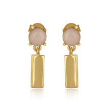 18k Yellow Gold Plated 925 Silver Pink Opal Gemstone Bar Dangle Earrings - $22.77