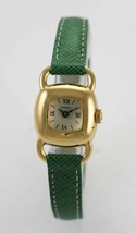 Fossil Watch Womens Beige Stainless Steel Gold Green Leather Battery Quartz - $35.13