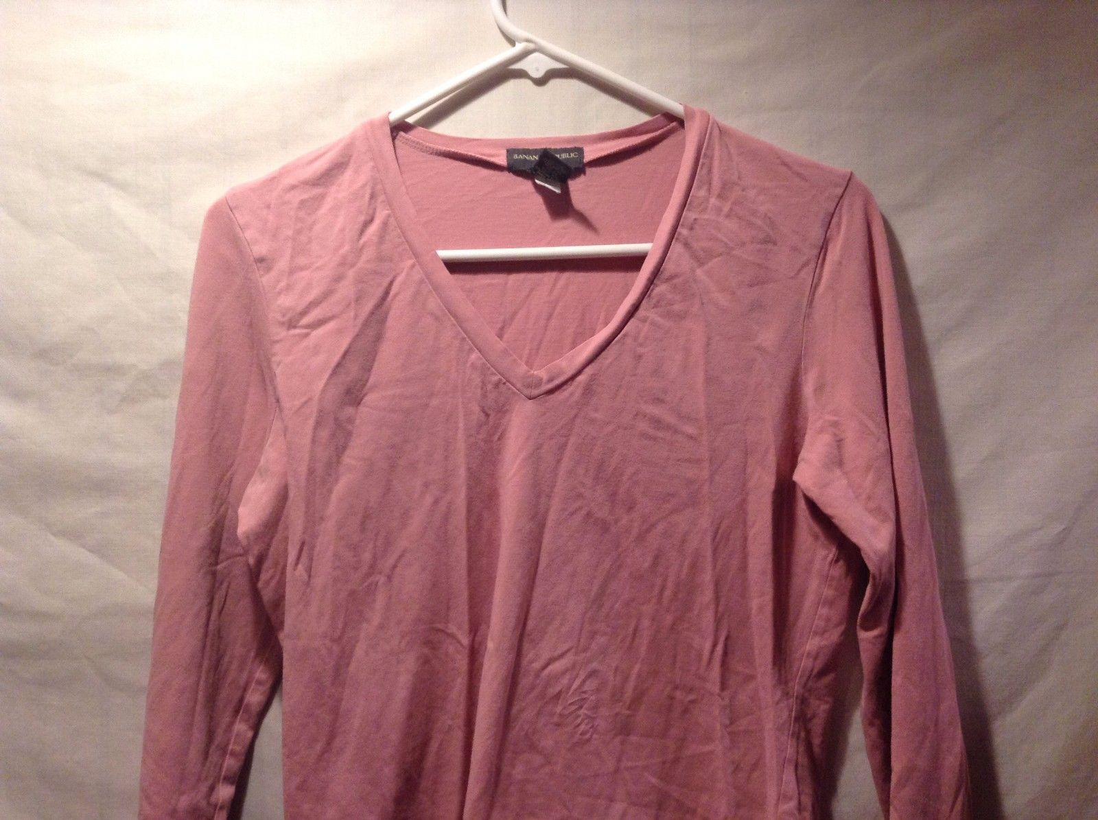Banana Republic Pink V Neck Long Sleeve Blouse Sz M