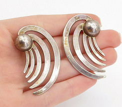 MEXICO 925 Sterling Silver - Vintage Modernist Wing Design Drop Earrings... - $47.71