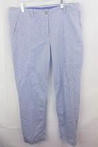 Talbots The Weekend Chino Blue White Stripe Pants Sz 10 petite stretch - $14.97