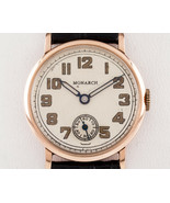Monarch 14k Rose Gold Round Hand-Wind Vintage Watch w/ Leather Band - $791.99