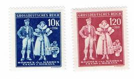 1944 Folk Costumes Set of 2 Bohemia and Moravia Postage Stamps MNH