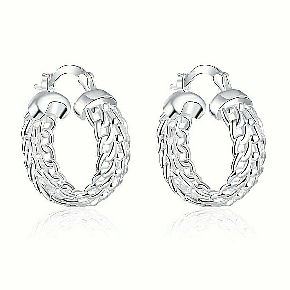 Primary image for Wide Hoop Chain Earrings Sterling Silver NEW