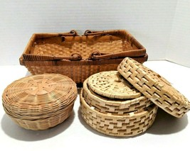 Set of Woven Grass Baskets and Coaster Set in Matching Round Grass Basket - $13.29
