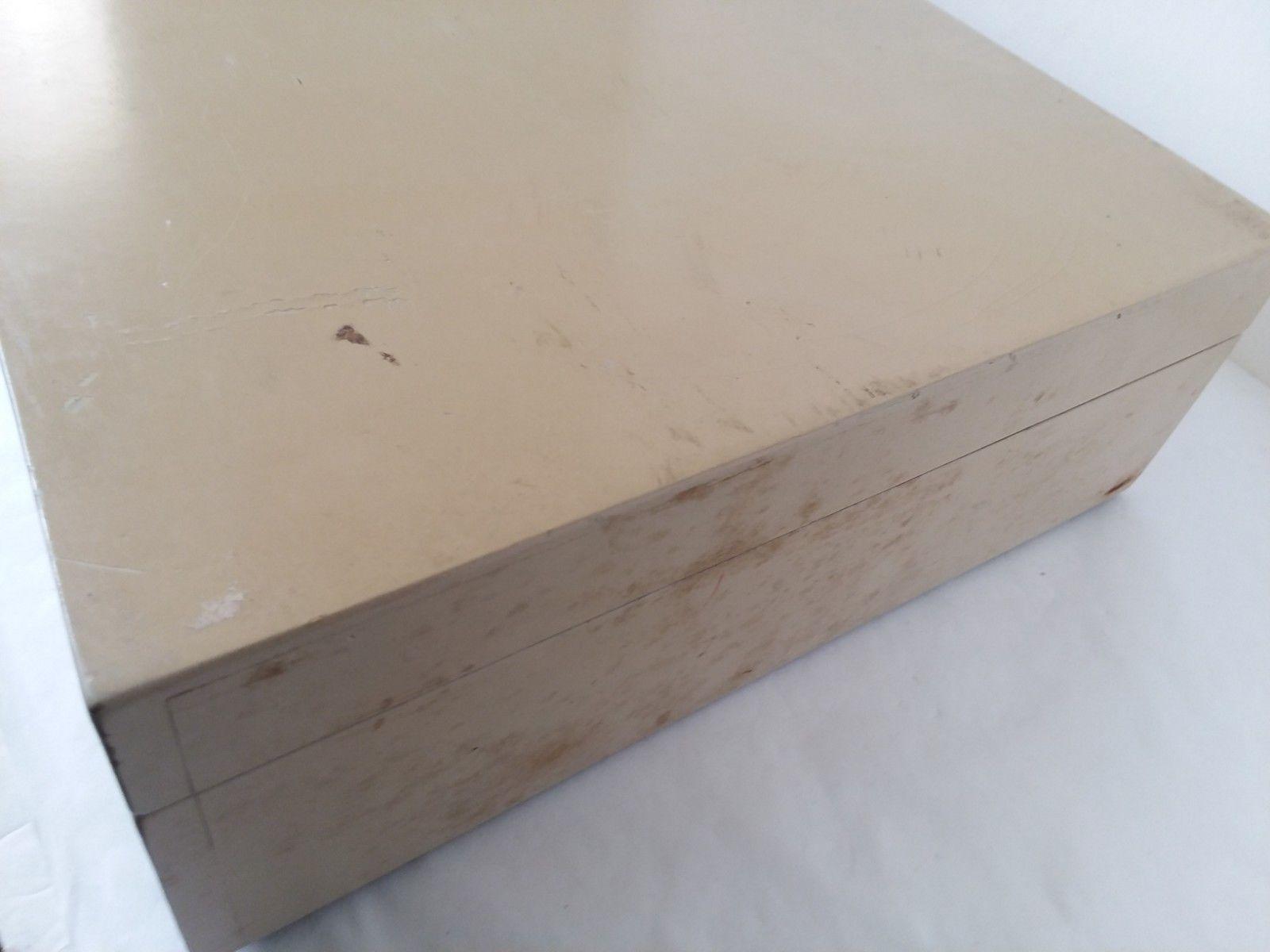 Vtg Beige Reed & Barton Particle Board Silverware Storage Chest Box Restoration