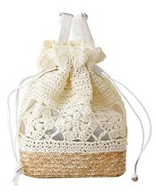 Fashion Vacation Item/Crochet Flower Straw Backpack/Beach Bag/White