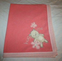 Carters Baby Blanket Girls Hug Me All About A Bear Fleece Pink Coral Squ... - $22.12