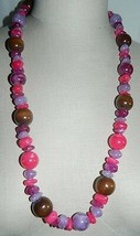 """VTG Purple Pink Lucite Wood Beaded Necklace - 31"""" in Length - $29.70"""