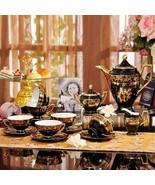 15 pc Set European Luxury Bone China Coffee Tea Set Black / Gold Painted... - $799.99