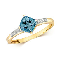 9ct Yellow Gold London Blue Topaz Cushion and Diamond Ring, Sizes J - Q ... - $273.59