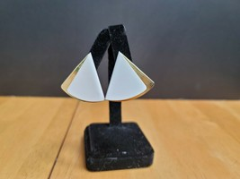 Vintage Trifari Clip On Earrings White Gold Tone Triangle Shape - $9.89