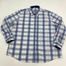 Tasso Elba Button Up Shirt Mens 2XL XXL Blue Purple Green 100% Cotton Plaid - $18.95