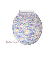 Hand Crocheted Cotton Toilet Tank & Lid Cover Set, Pastel Variegate, Pin... - $225.00