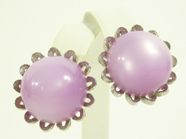 Vintage Star Lavender Moonglow Domed Clip on Earrings Silver Plate Scall... - $13.37