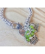 Charm Bracelet Army Wife Husband Love My Soldier Angel Wing Silver Tone  - $13.10