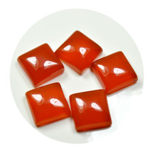 Real Carnelian Total 30 Carat Orange Stone Lot 5 Pieces Square Shape Who... - $27.52