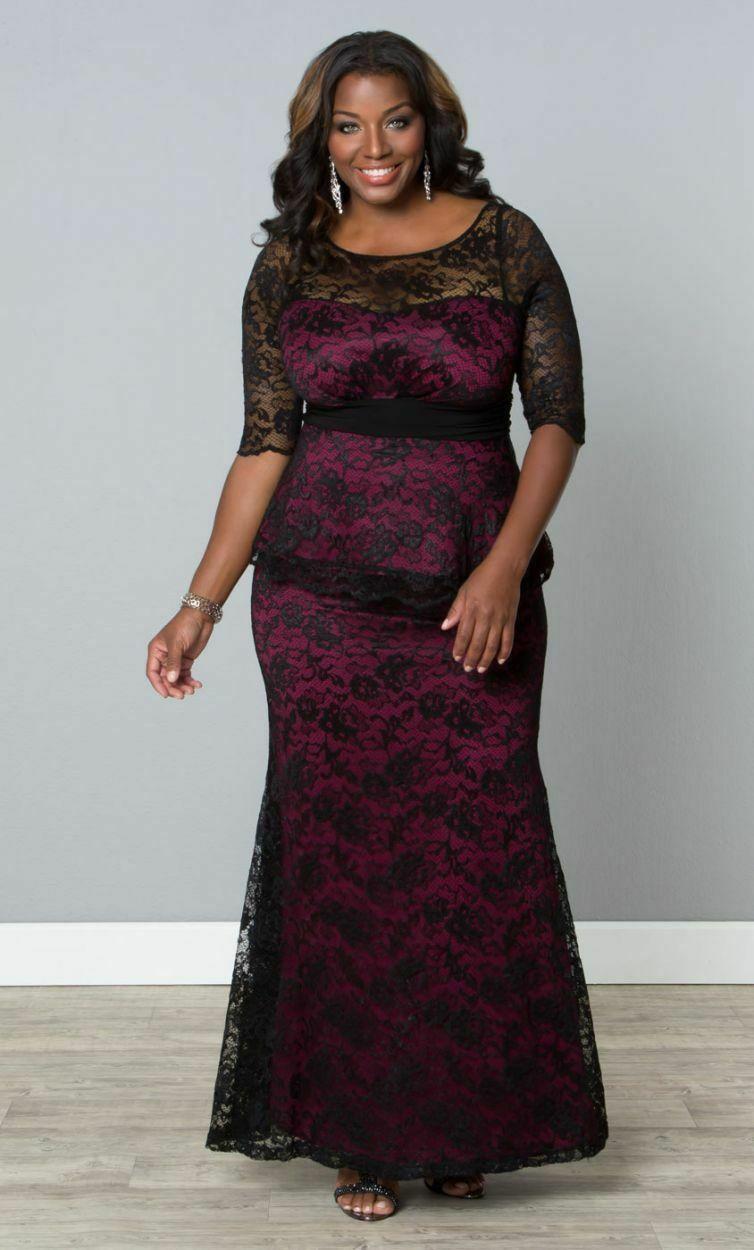 Kiyonna Übergröße Kleid Größe 1X Schwarz Lila Spitze Abendkleid Astoria image 4