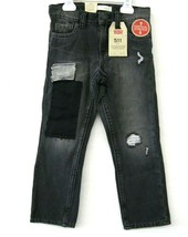 Levi 511 Nwt Jungen Jeans Schwarzem Denim Größe 6 Flicken Distressed Sli... - $26.71