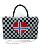 Laila Essence of Norway Flag Purse Metal Mesh & Satin Removable Shoulder... - $39.99