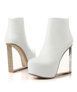 91B010 Lady's crystal wedge booties, 13.5 cm heel,size 4-8.5,whie - $98.80