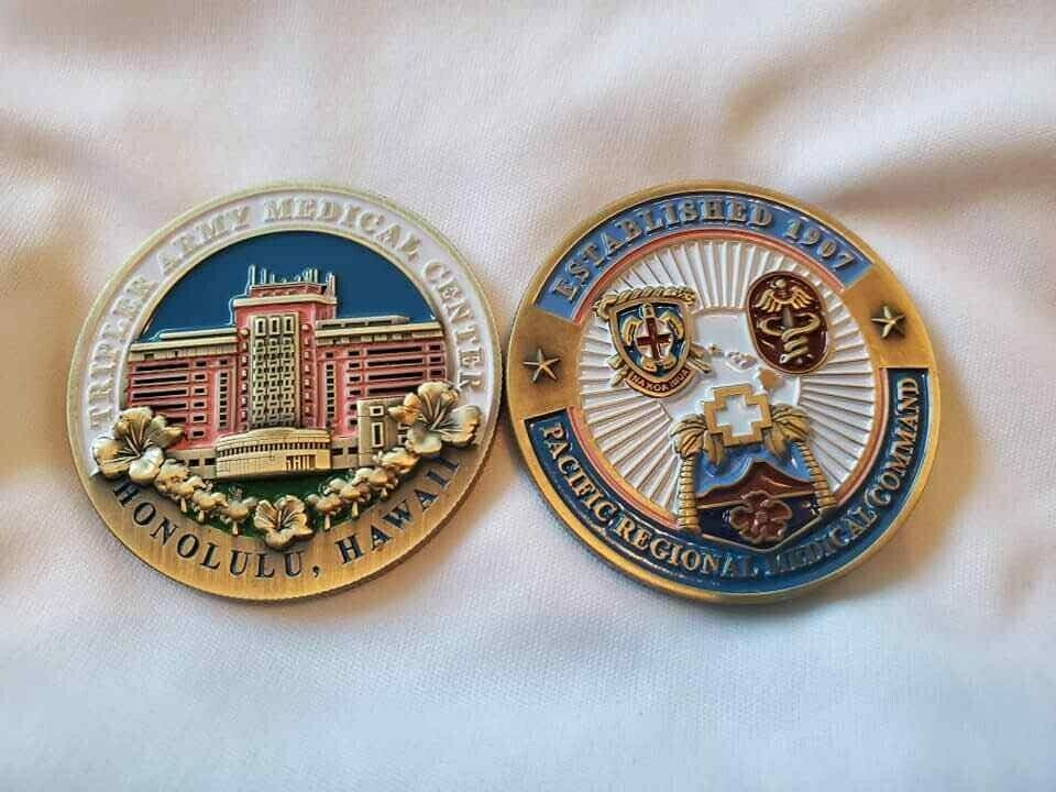 """ARMY TRIPLER MEDICAL CENTER HAWAII 42"""" CHALLENGE COIN"""