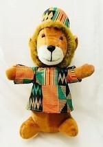 """Ace Novelty Co Plush Lion Large 25"""" Stuffed Animal Dashiki Shirt Kufi Cap VTG - $28.68"""