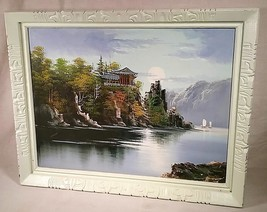 "VTG 26 1/2""X 21"" OIL ON CANVAS PAINTING ORIENTAL PAGODA LANDSCAPE RIVER ... - $70.11"