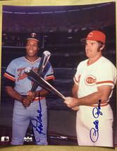 Pete Rose & Rod Carew Silver Bat/Bud Hillerich Award Autographed Photo 8... - $97.99