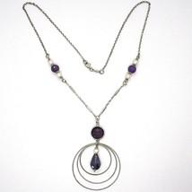 Collar Plata 925 ,Amatista Violeta, Triple Círculo Colgante, Trabajado image 2