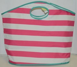 Viv And Lou Large Pink White Striped Beach Tote Bag Polyester - $24.95