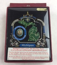 Nations Treasures Michigan State Stone Painted Brass Metal Souvenir Ornament - $20.00
