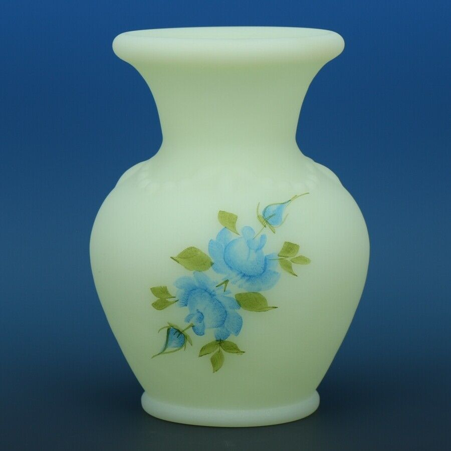 Fenton Art Glass Blue Roses Custard Satin c.1981 7554BQ Small Vase